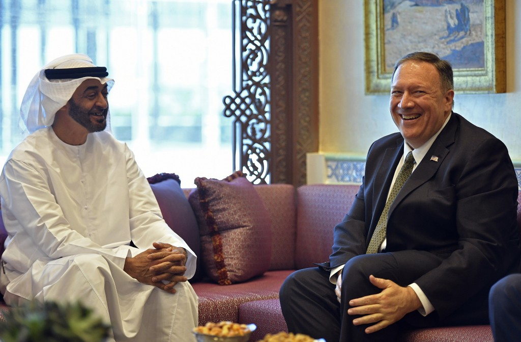U.S. Secretary of State Mike Pompeo meets with Abu Dhabi Crown Prince Mohamed bin Zayed al-Nahyan in Abu Dhabi, United Arab Emirates, Thursday, Sept. ...