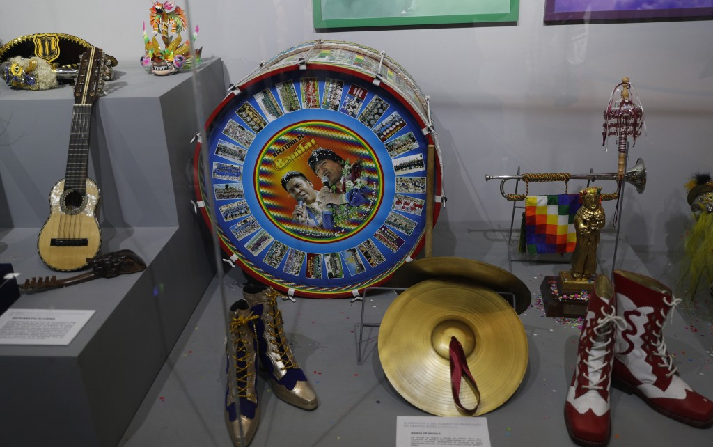 In this Sept. 13, 2019 photo, musical instruments that were given as gifts to Bolivia's President Eva Morales, are displayed at the Democratic and Cul