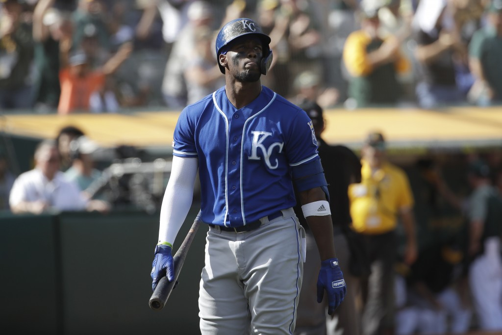Kansas City Royals' Jorge Soler walks to the dugout after striking out against the Oakland Athletics during the 11th inning of a baseball game in Oakl...