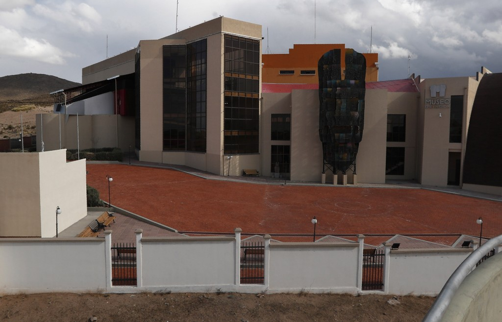 This Sept. 13, 2019 photo shows the front of the Democratic and Cultural Revolution Museum, in Orinoca, Bolivia. From the air the building stands like