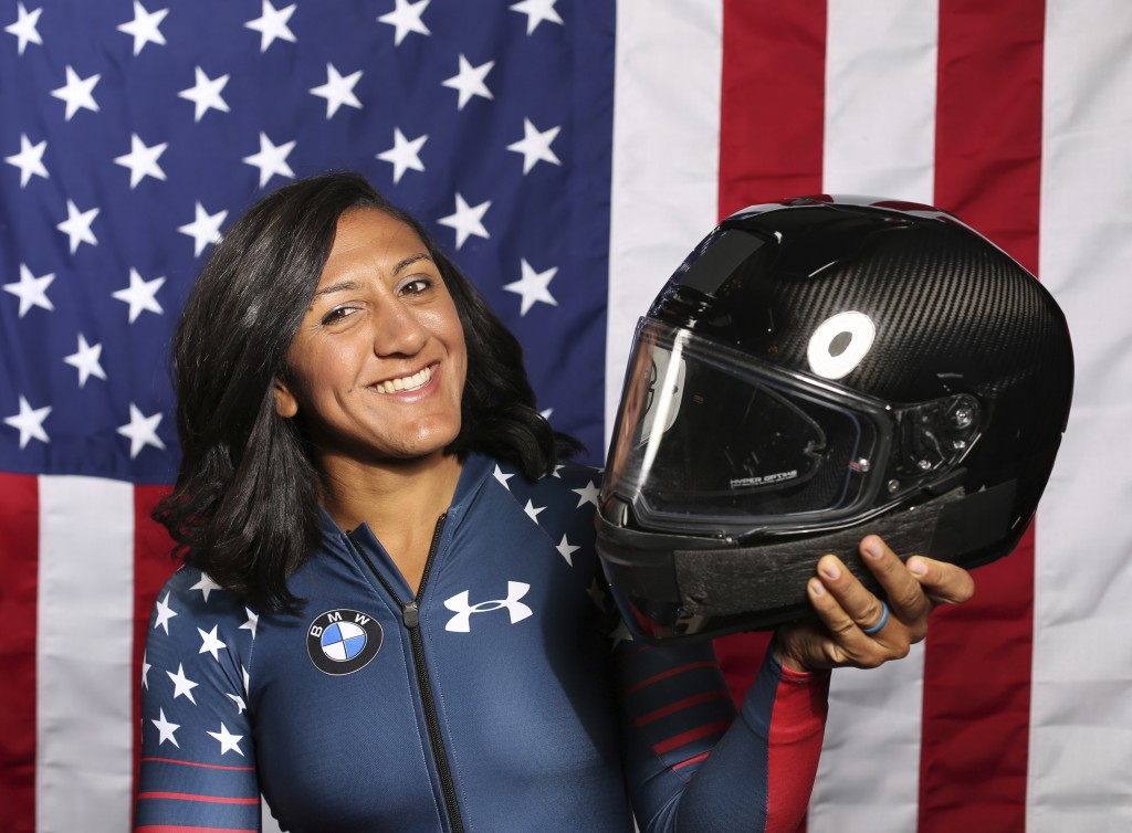 FILE - In this Monday, Sept. 25, 2017 file photo, United States Olympic Winter Games bobsledder Elana Meyers Taylor poses for a portrait at the 2017 T