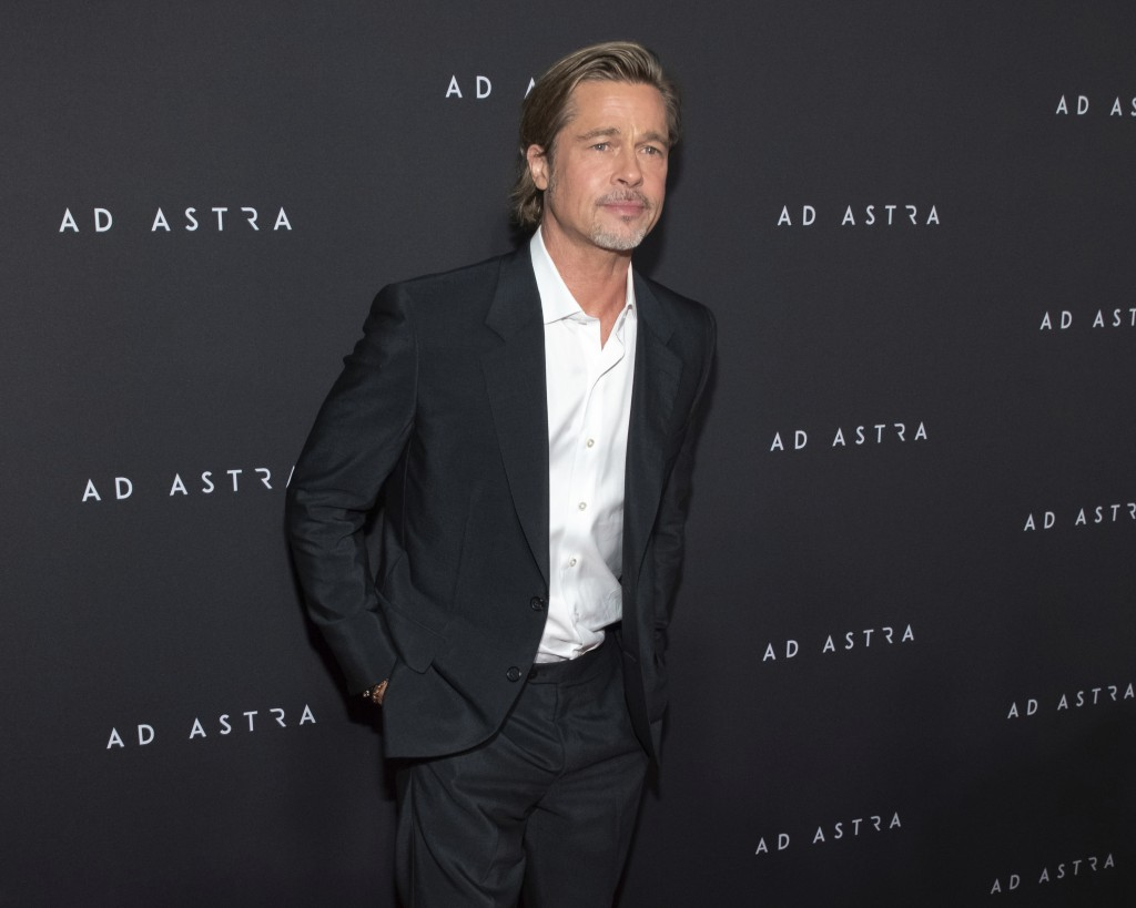 """This Sept. 16, 2019 photo shows actor Brad Pitt at a special screening of """"Ad Astra"""" at the National Geographic Museum in Washington. (Photo by Brent ..."""