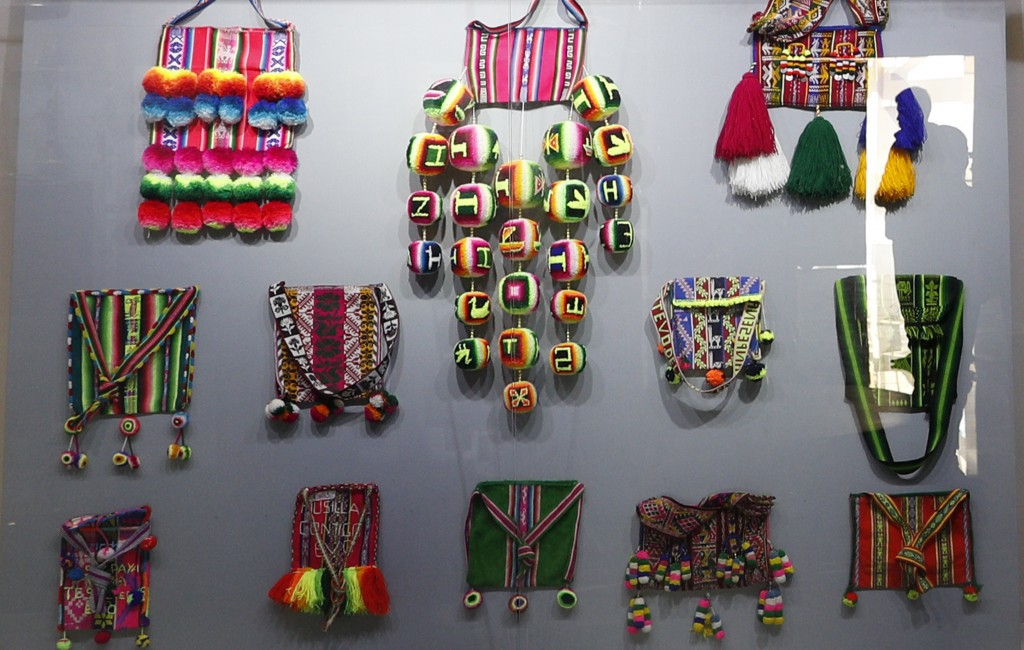 In this Sept. 13, 2019 photo, indigenous handmade bags that were given as gifts to Bolivia's President Eva Morales, are displayed at the Democratic an
