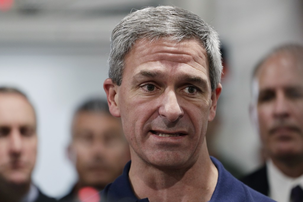 Acting director of U.S. Citizenship and Immigration Services Ken Cuccinelli talks during a walk through of the Migration Protection Protocols Immigrat...