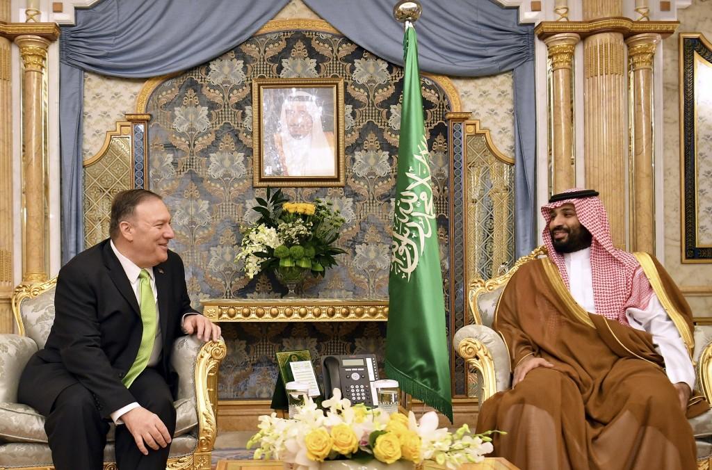 U.S. Secretary of State Mike Pompeo, left, meets with Saudi Arabia's Crown Prince Mohammed bin Salman in Jeddah, Saudi Arabia, on Wednesday, Sept 18, ...