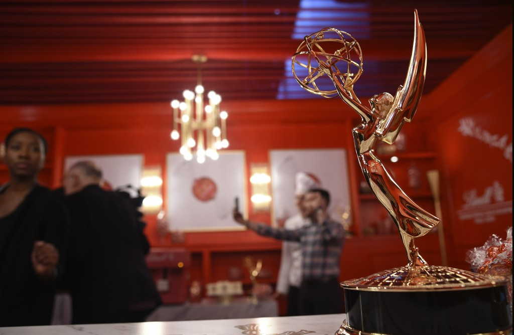 An Emmy Award is pictured inside the Lindt Chocolate Lounge backstage during Press Preview Day for Sunday's 71st Primetime Emmy Awards, Thursday, Sept...