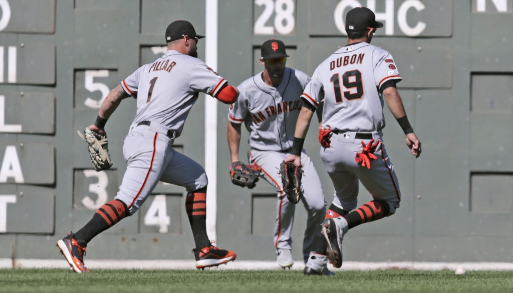 San Francisco Giants center fielder Kevin Pillar (1), shortstop Mauricio Dubon (19) and left fielder Joey Rickard, center, all chase down a single by ...