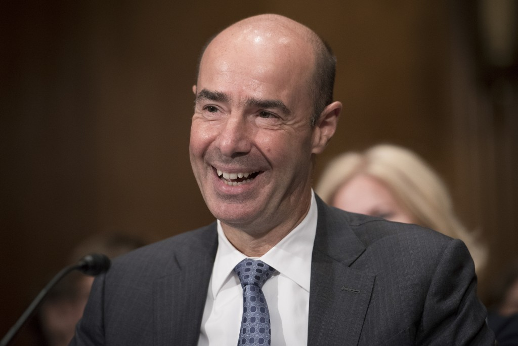 Secretary of Labor nominee Eugene Scalia speaks during his nomination hearing on Capitol Hill, in Washington, Thursday, Sept. 19, 2019. (AP Photo/Clif...