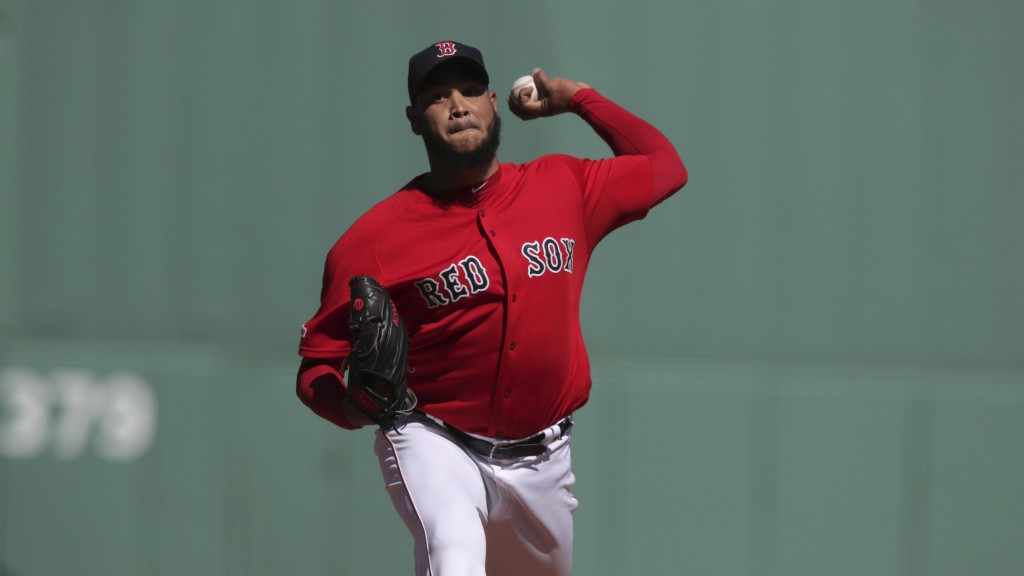 Boston Red Sox starting pitcher Eduardo Rodriguez delivers during the first inning of a baseball game against the San Francisco Giants at Fenway Park ...