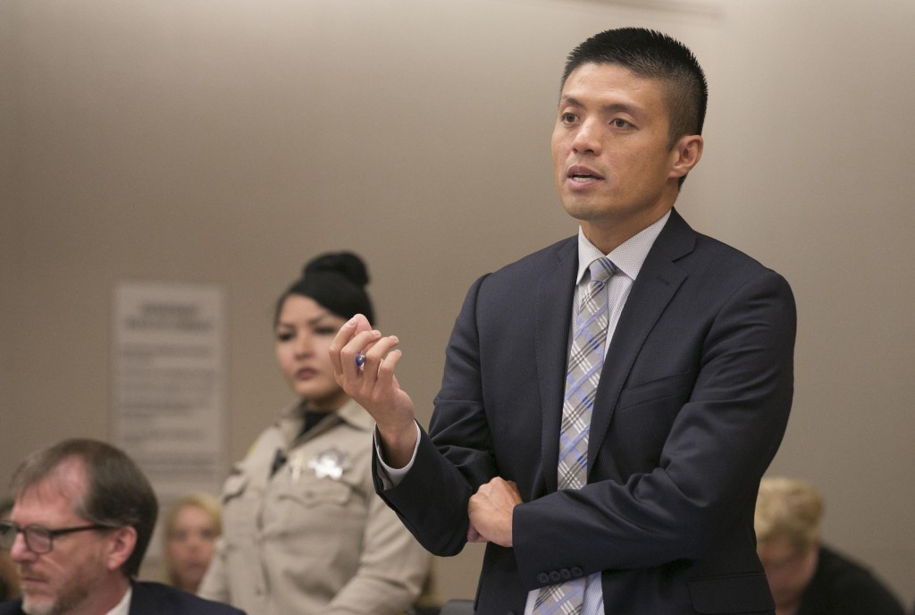 Deputy District Attorney Leonard Trinh questions witness Oscar Stewart during a preliminary hearing for John Earnest, Thursday, Sept. 19, 2019, in Sup...