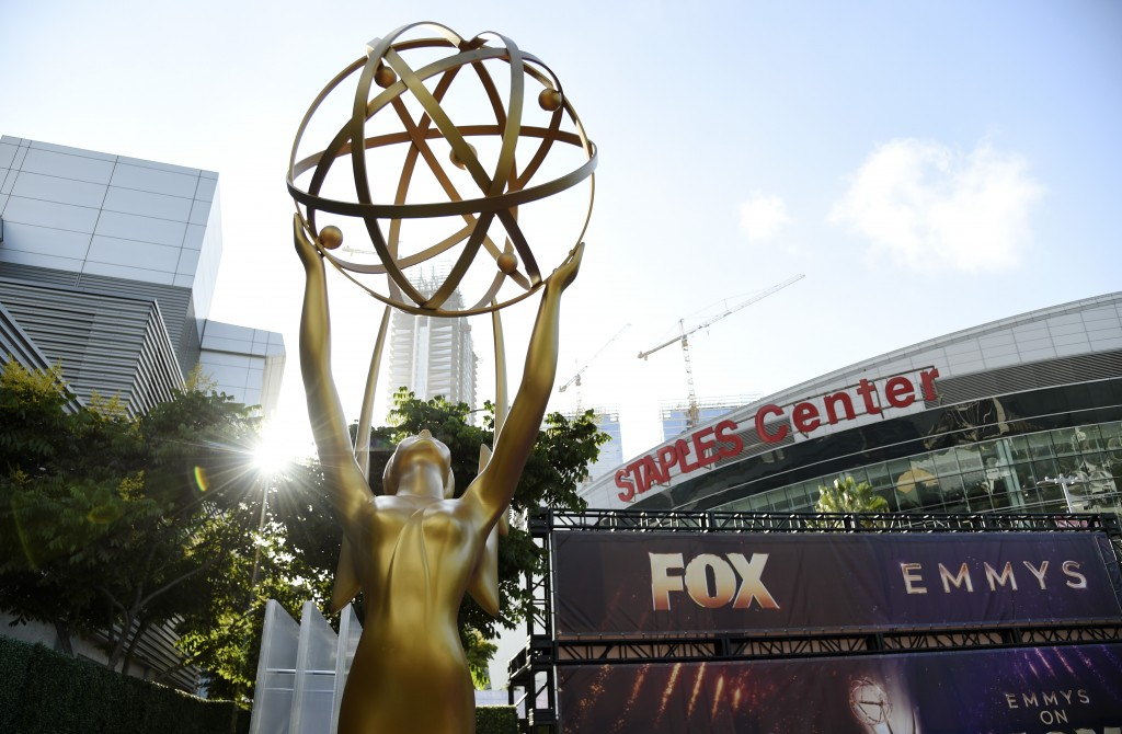An Emmy statue stands outside the Microsoft Theater during Press Preview Day for Sunday's 71st Primetime Emmy Awards, Thursday, Sept. 19, 2019, in Los...