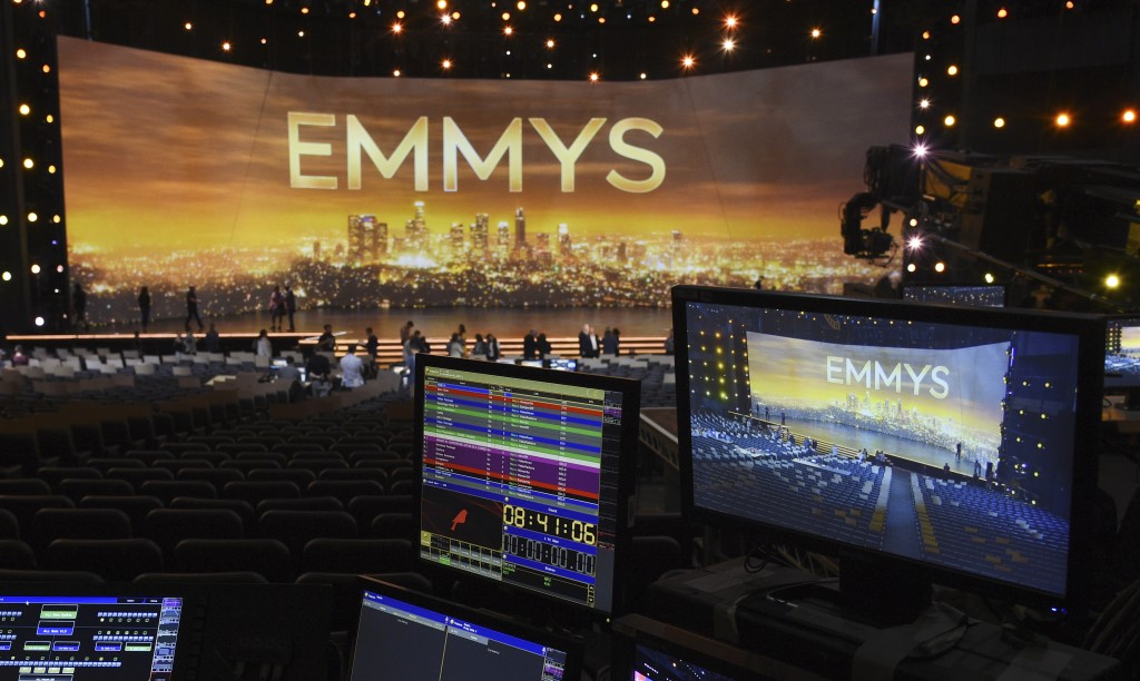 A video monitor displays the stage for Sunday's 71st Primetime Emmy Awards during Press Preview Day, Thursday, Sept. 19, 2019, at the Microsoft Theate...