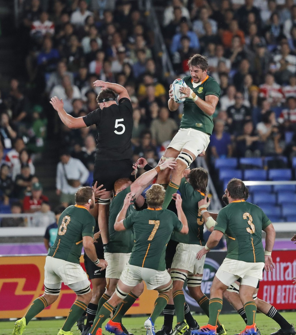 South Africa's Eben Etzebeth wins the ball in the air during the Rugby World Cup Pool B game between New Zealand and South Africa in Yokohama, Japan, ...