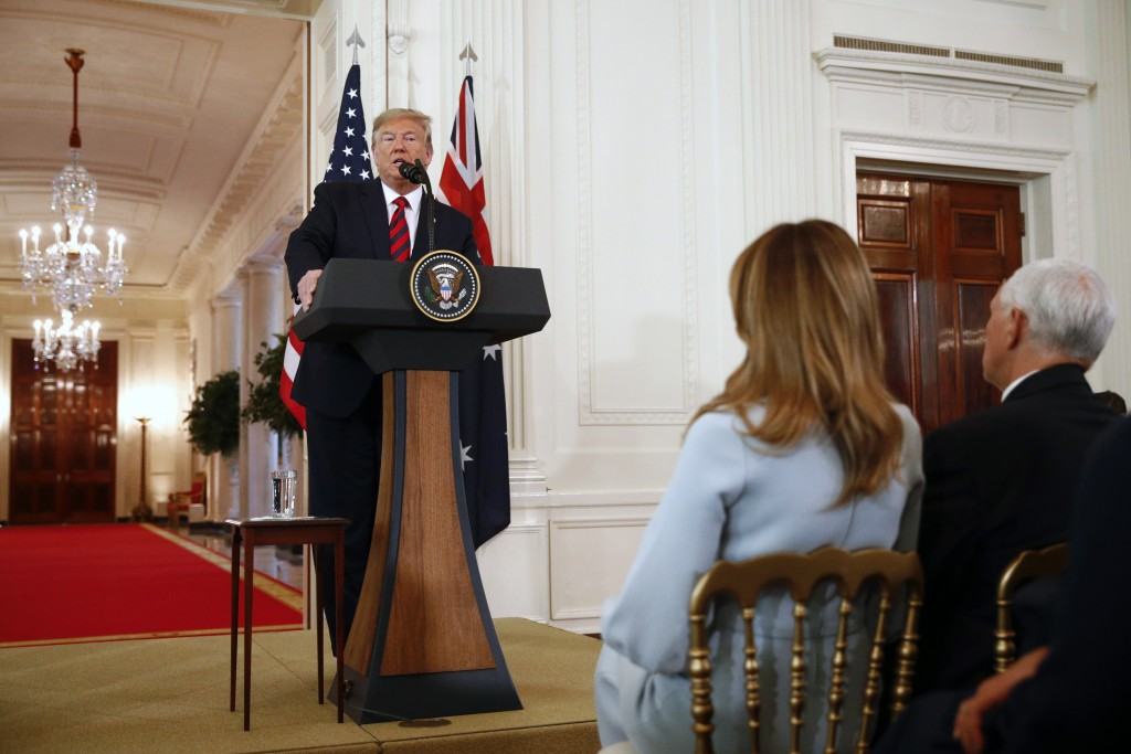 President Donald Trump speaks during a news conference with Australian Prime Minister Scott Morrison in the East Room of the White House Friday Sept
