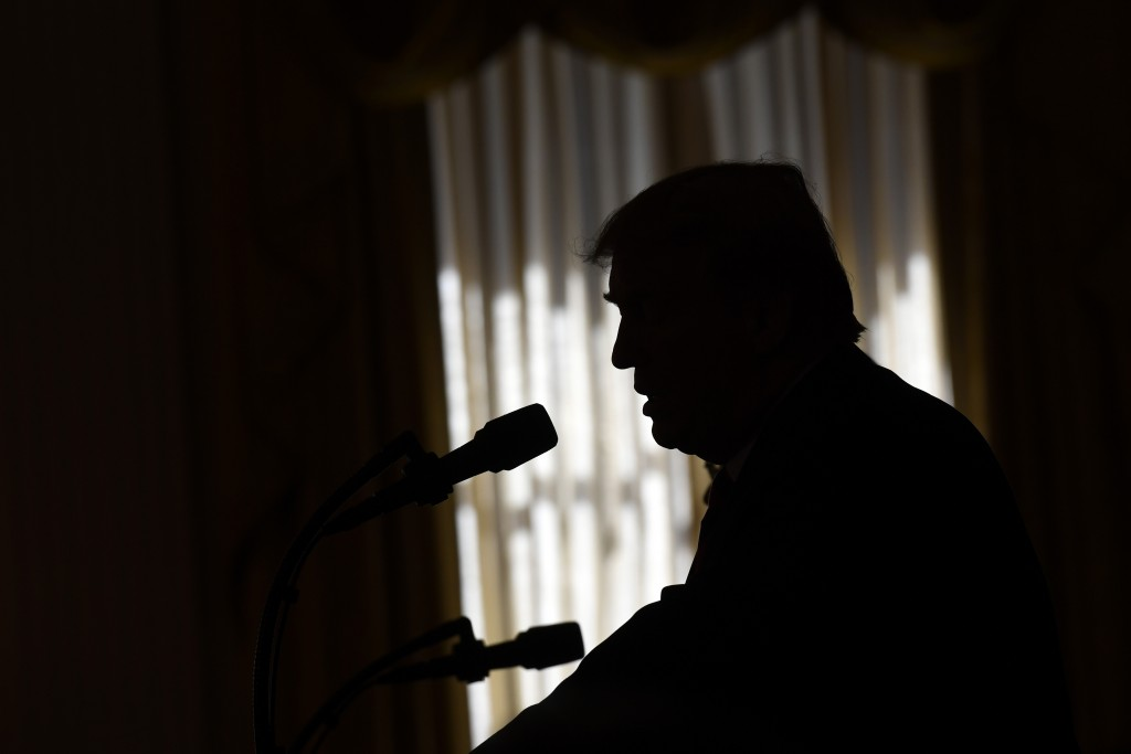 President Donald Trump speaks during a news conference with Australian Prime Minister Scott Morrison in the East Room of the White House in Washington...