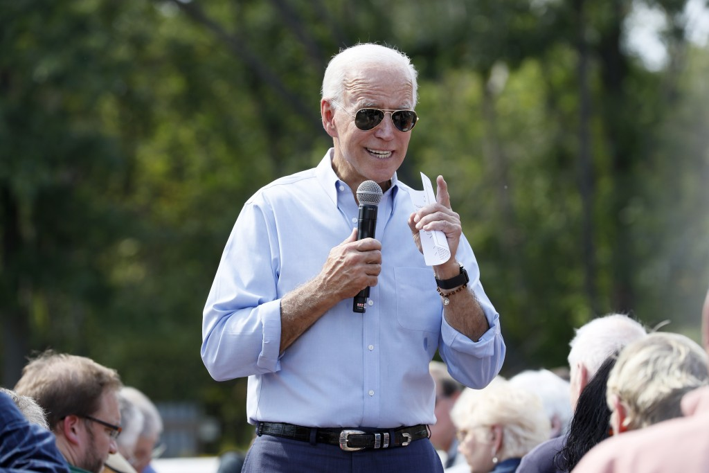 Democratic presidential candidate former Vice President Joe Biden speaks during a town hall meeting at the Indian Creek Nature Preserve, Friday, Sept.