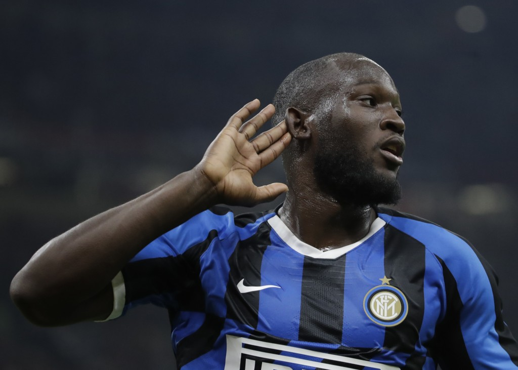 Inter Milan's Romelu Lukaku celebrates his goal during a Serie A soccer match between AC Milan and Inter Milan, at the San Siro stadium in Milan, Ital...
