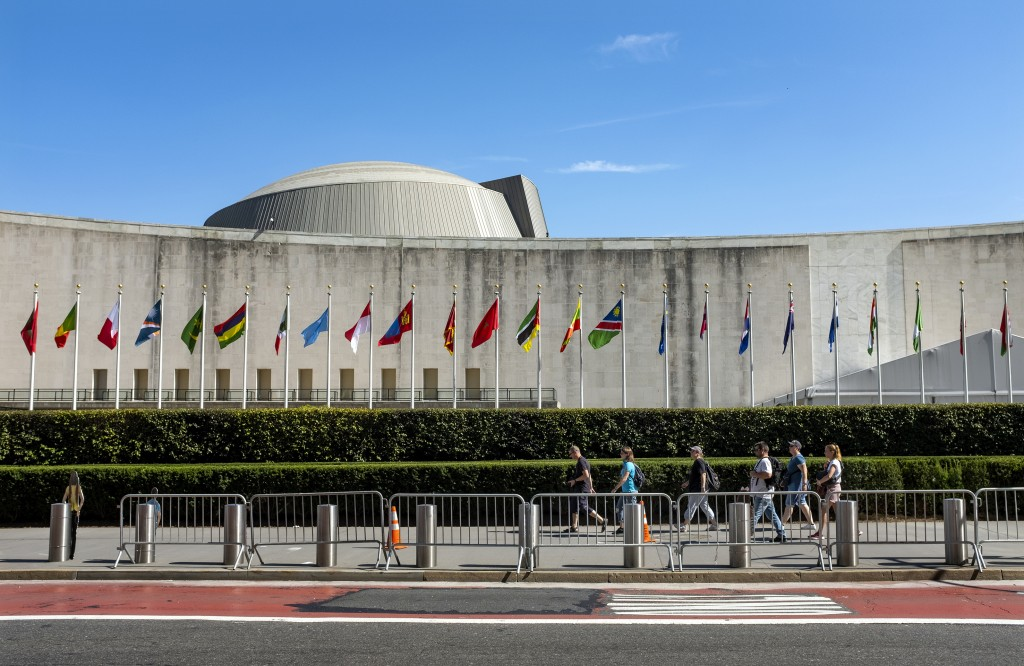 Temporary security barricades stand along 1st Ave. in New York in front of United Nations Headquarters Saturday, Sept. 21, 2019, as the United Nations