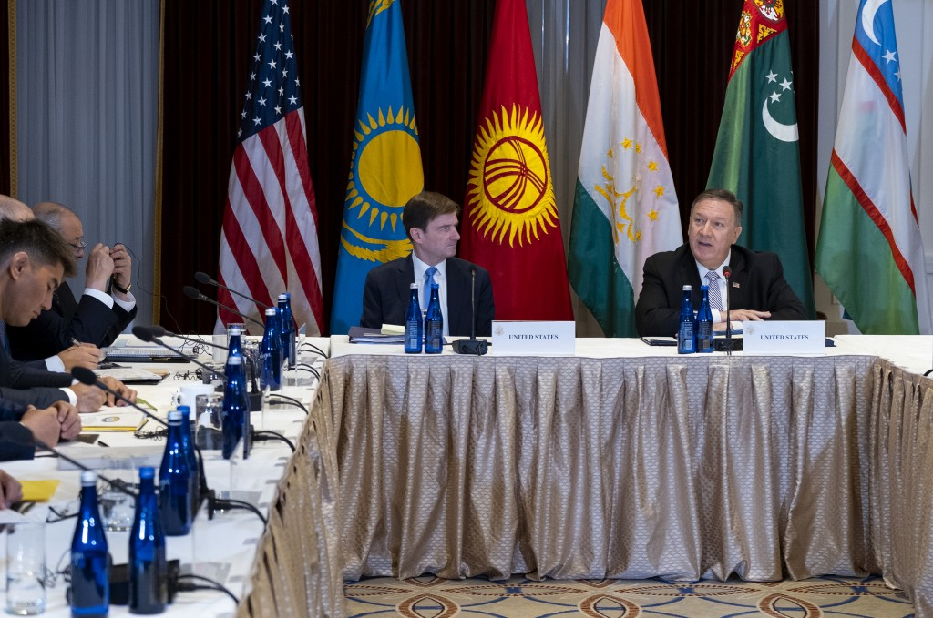 U.S. Secretary of State Mike Pompeo, right, meets with Central Asian (C5) foreign ministers from Kazakhstan, Uzbekistan, Tajikistan, Kyrgyzstan, and T...