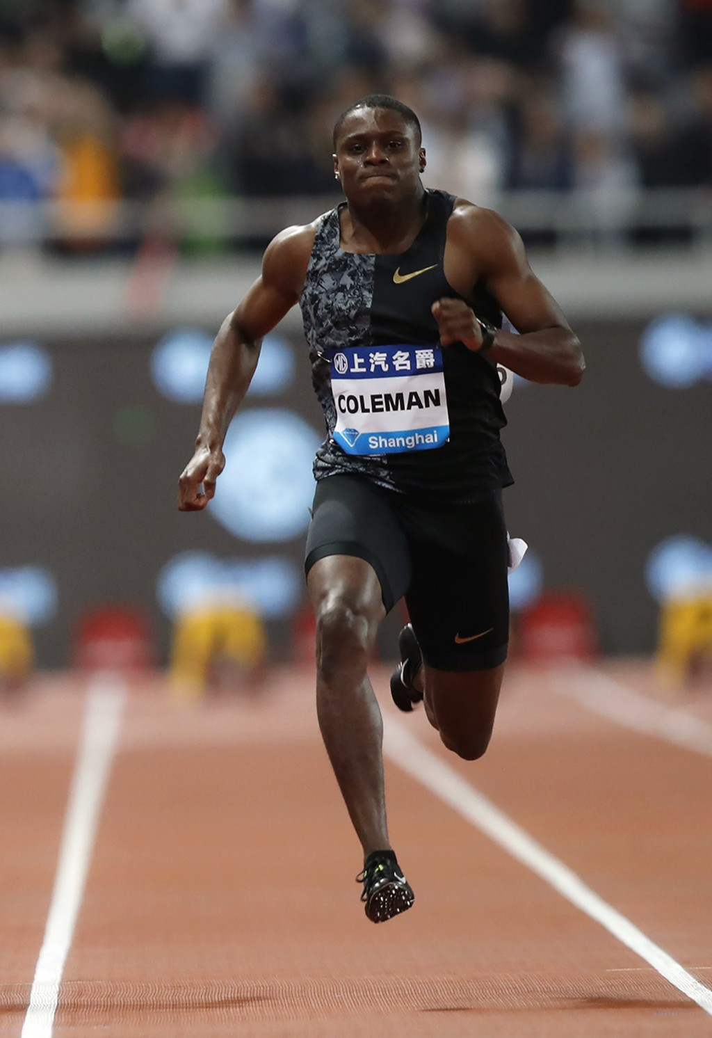 FILE - In this May 18, 2019, file photo, Christian Coleman of the United States competes in the final of the men's 100-meter event during the Diamond ...