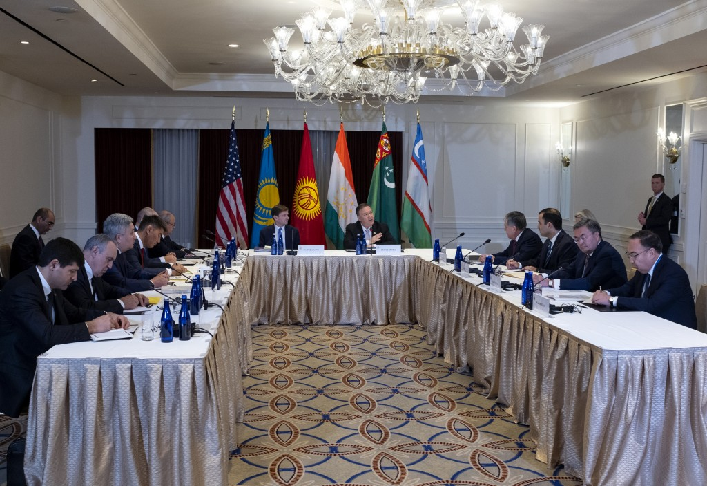 U.S. Secretary of State Mike Pompeo, center right, meets with Central Asian (C5) foreign ministers from Kazakhstan, Uzbekistan, Tajikistan, Kyrgyzstan...
