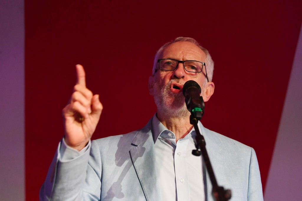 Labour leader Jeremy Corbyn speaks at the The World Transformed (TWT) opening rally at the Old Steine Gardens during the Labour Party Conference in Br...
