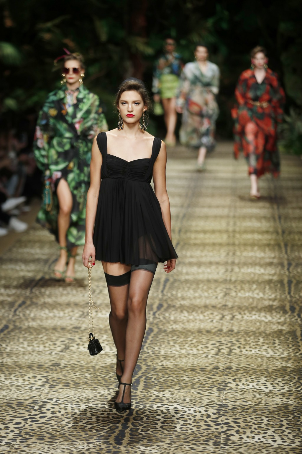 Models wear creations as part of the Dolce & Gabbana Spring-Summer 2020 collection, unveiled during the fashion week, in Milan, Italy, Sunday, Sept. 2