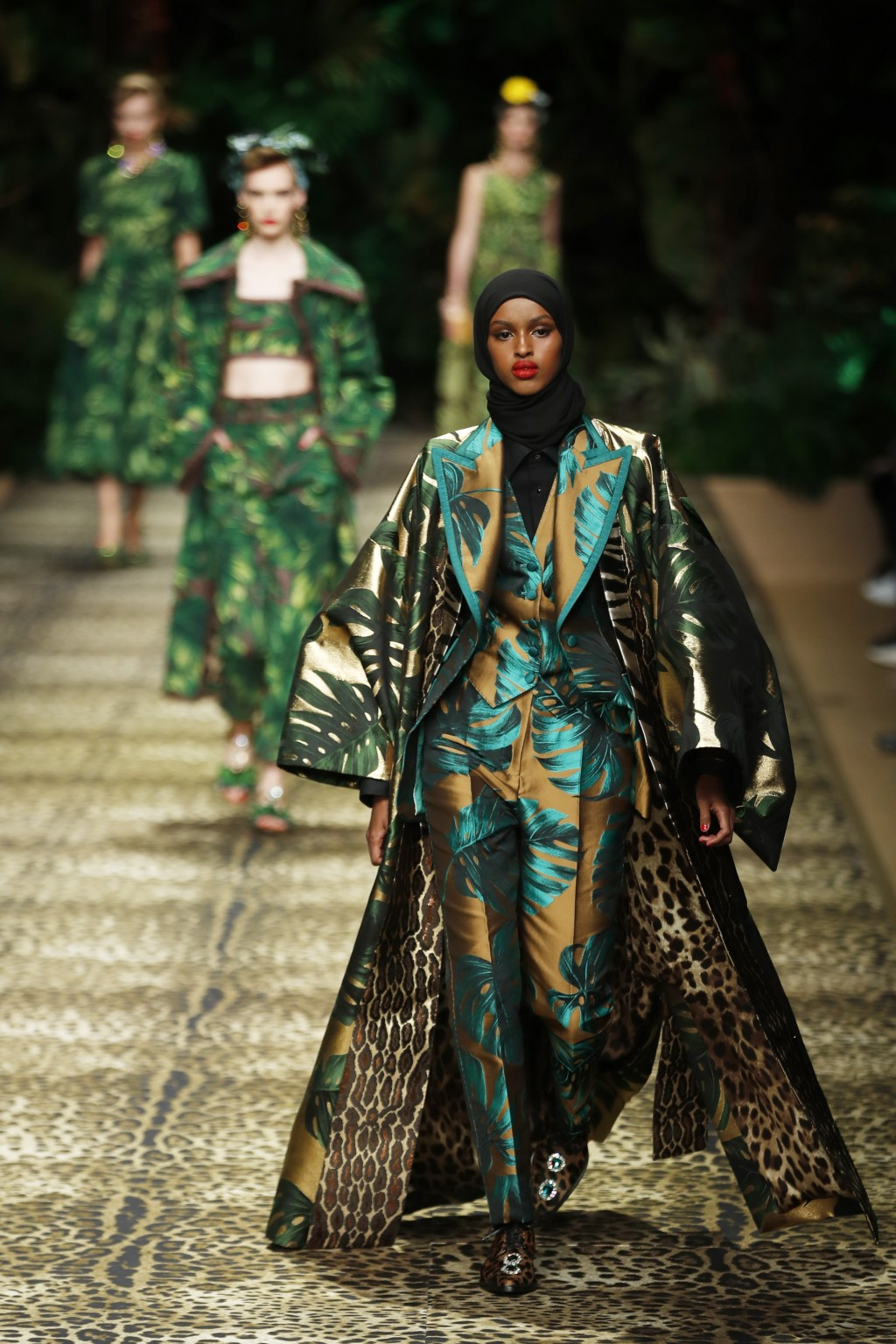 Models wear creations as part of the Dolce & Gabbana Spring-Summer 2020 collection, unveiled during the fashion week, in Milan, Italy, Sunday, Sept. 2...