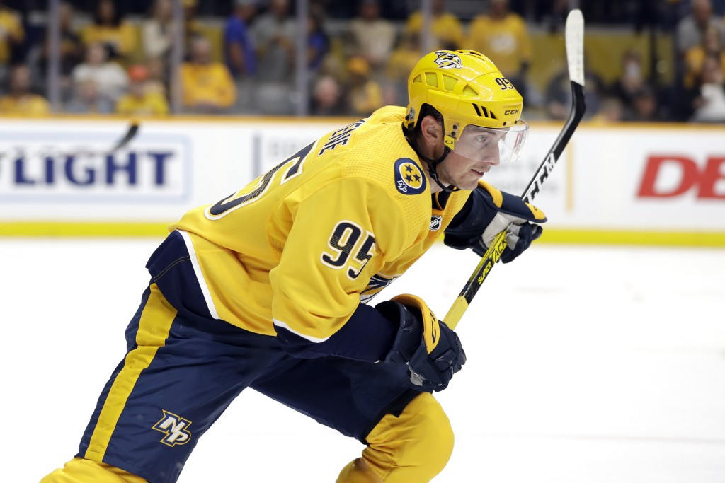 Nashville Predators center Matt Duchene plays against the Tampa Bay Lightning during the second period of an NHL preseason hockey game Saturday, Sept....
