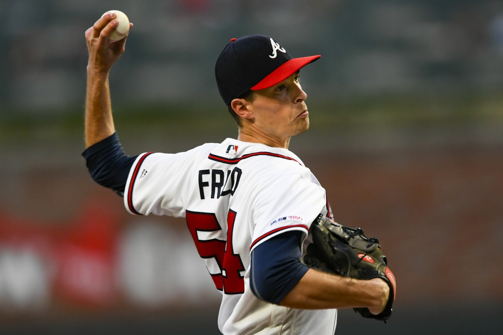 Atlanta Braves' Max Fried pitches against the San Francisco Giants during the first inning of a baseball game, Saturday, Sept. 21, 2019, in Atlanta. (