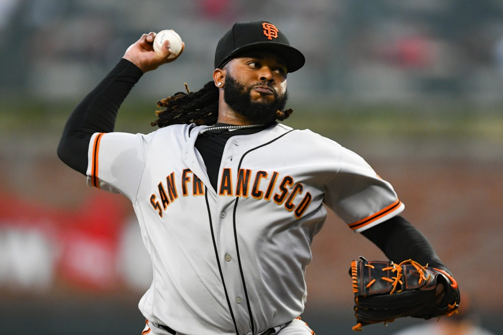 San Francisco Giants' Johnny Cueto pitches against the Atlanta Braves during the first inning of a baseball game, Saturday, Sept. 21, 2019, in Atlanta