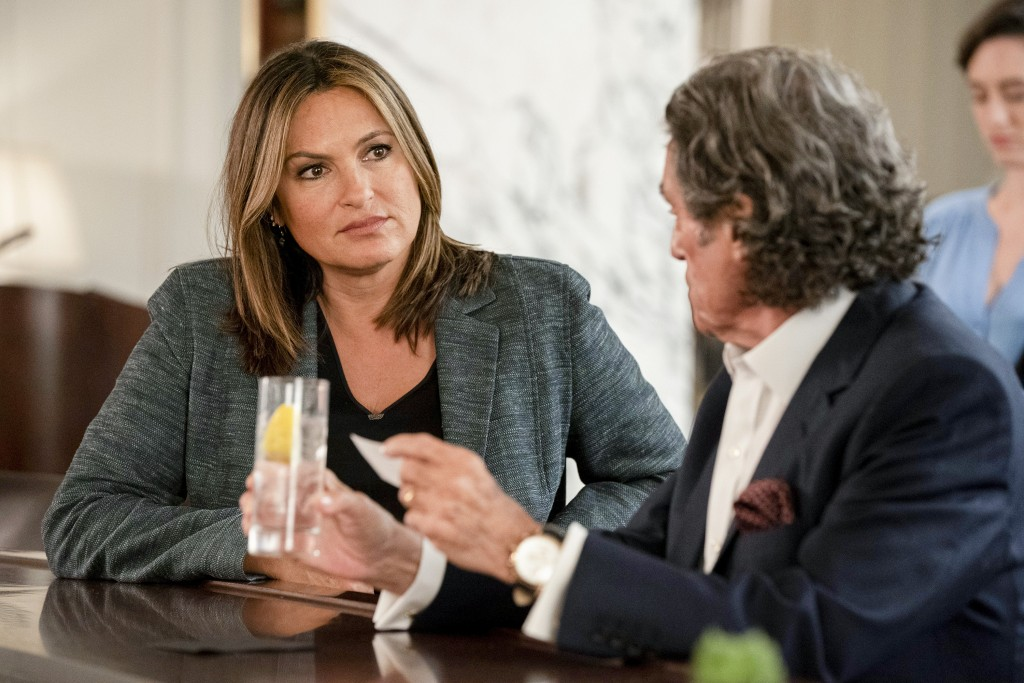 "This image released by NBC shows Mariska Hargitay, left, and Ian McShane in a scene from ""Law & Order: SVU.  The show's 21st season premieres on Sept...."