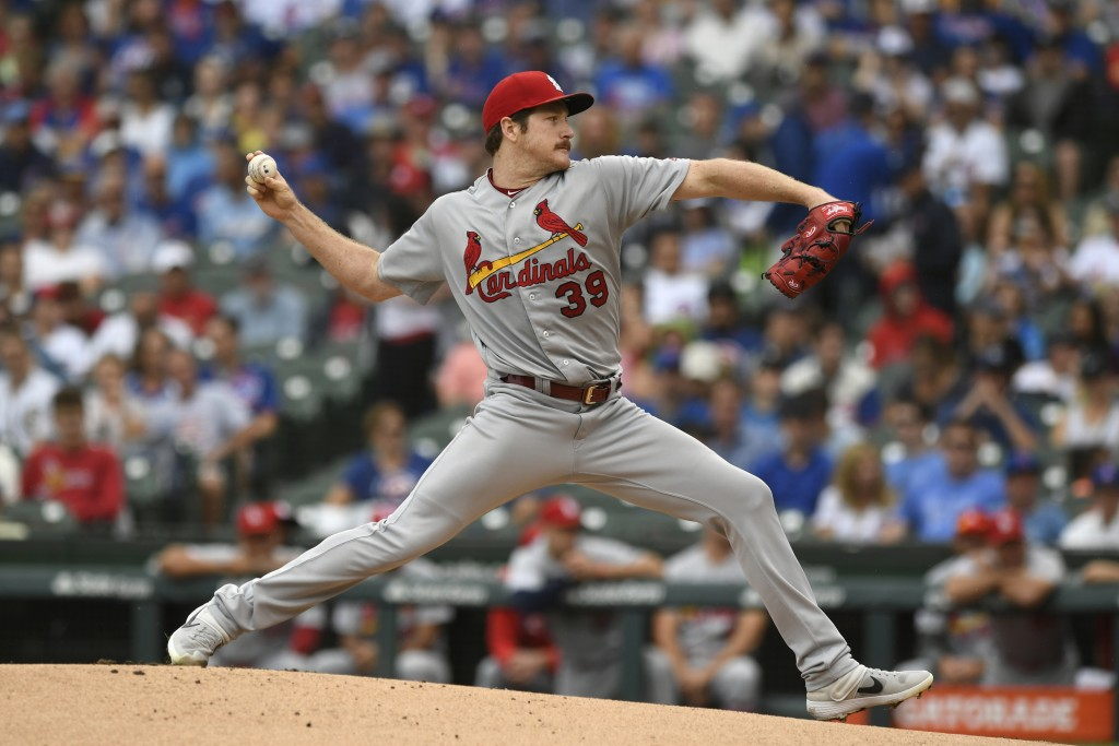 St. Louis Cardinals starter Miles Mikolas delivers a pitch during the first inning of a baseball game against the Chicago Cubs, Sunday, Sept. 22, 2019...
