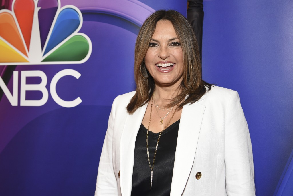 "FILE - This May 13, 2019 file photo shows Mariska Hargitay, of ""Law & Order: Special Victims Unit,"" at the NBC 2019/2020 Upfront in New York. The show..."