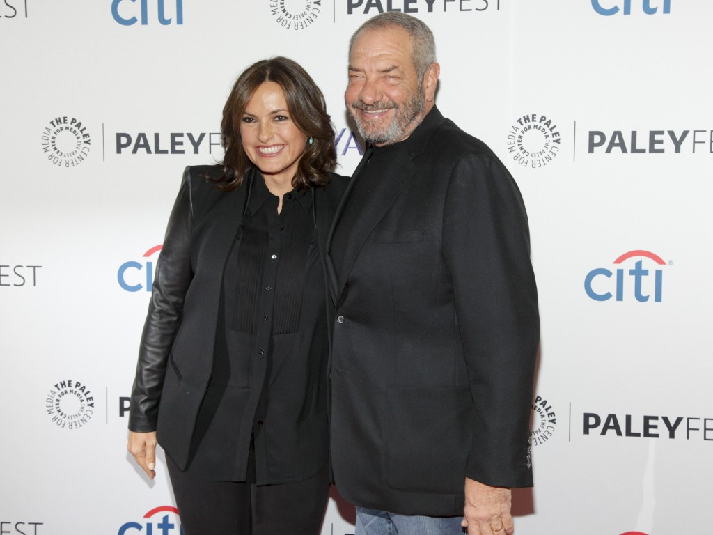 "FILE - This Oct. 13, 2014 file photo shows Mariska Hargitay, left, and Dick Wolf, at the PaleyFest New York ""Law & Order: SVU"" panel discussion in New..."