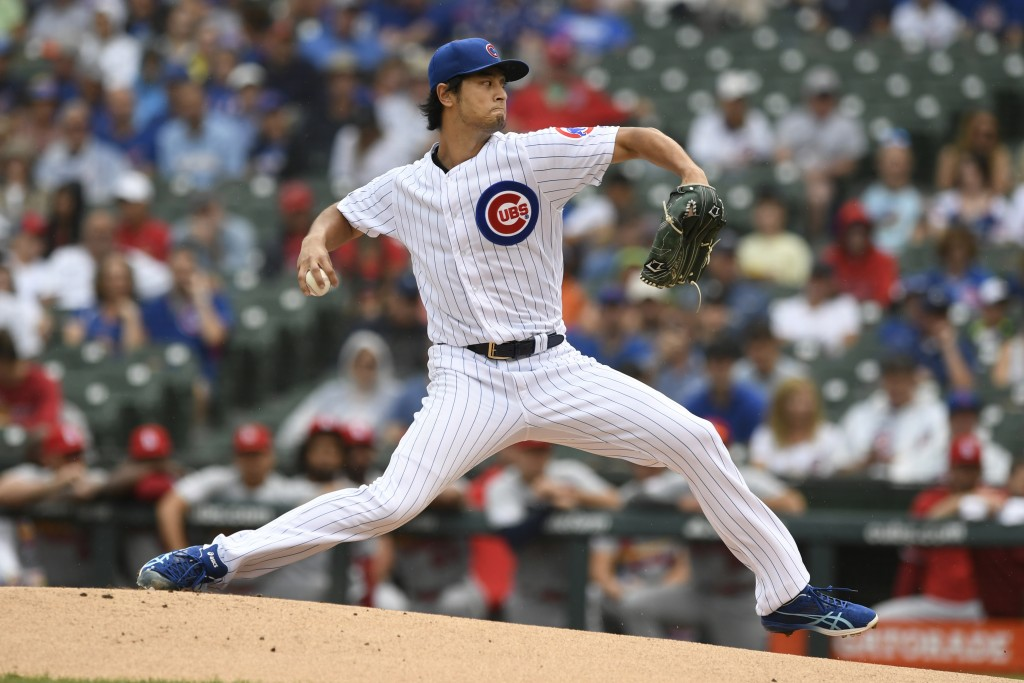 Chicago Cubs starter Yu Darvish delivers a pitch during the first inning of a baseball game against the St. Louis Cardinals, Sunday, Sept. 22, 2019, i...