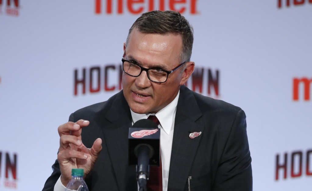 FILE - In this April 19, 2019, file photo, Detroit Red Wings general manager Steve Yzerman answers a question in Detroit. Yzerman is entering his firs