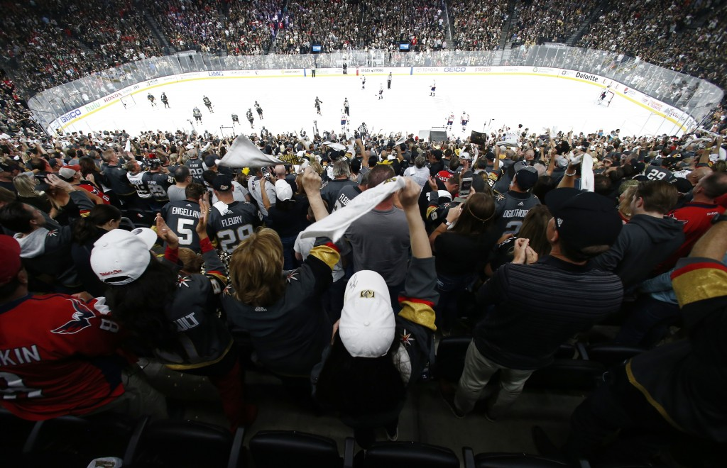 FILE - In this May 28, 2018, file photo, fans celebrate a goal by Vegas Golden Knights left wing Tomas Nosek, of the Czech Republic, during the third ...