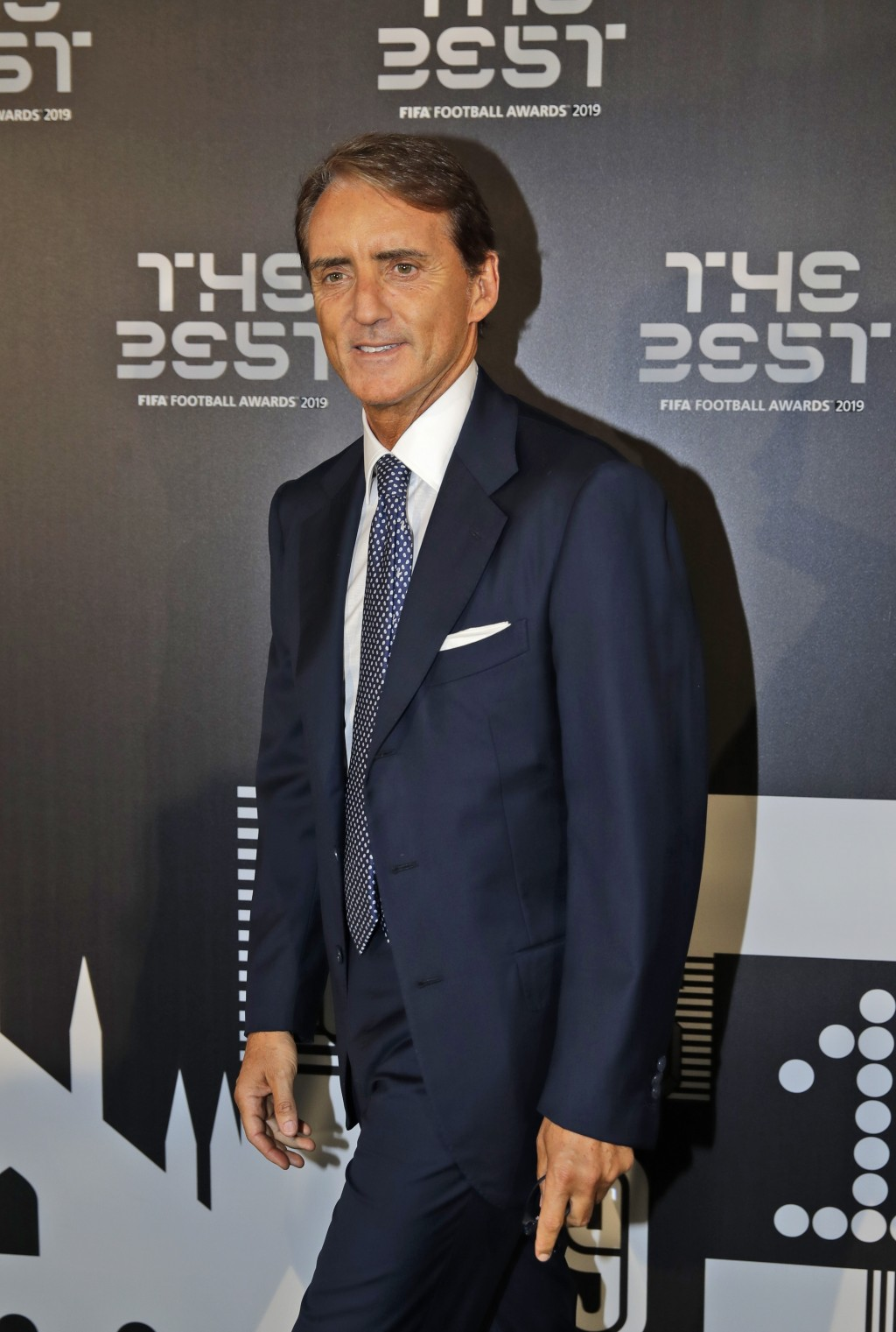 Italy coach Roberto Mancini arrives to attend the Best FIFA soccer awards, in Milan's La Scala theater, northern Italy, Monday, Sept. 23, 2019. Nether