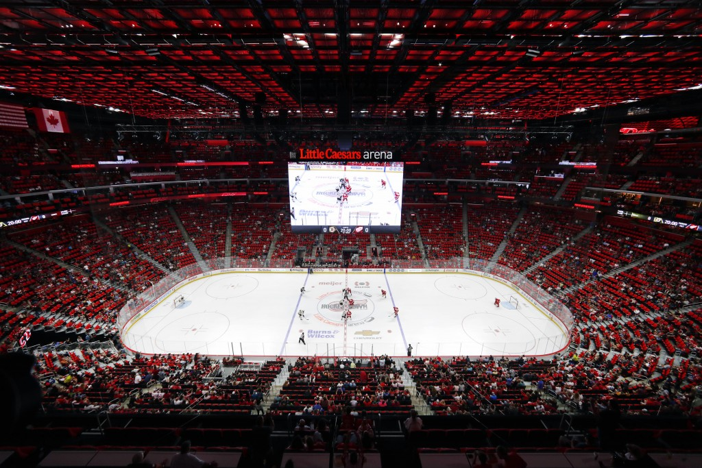 FILE - In this Sept. 23, 2017, file photo, the Detroit Red Wings play an NHL preseason game against the Boston Bruins at Little Caesars Arena in Detro...