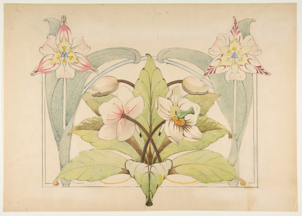 """This photo provided by The Metropolitan Museum of Art shows a watercolor over graphite by Anonymous titled """"Decorative Design with Natural and Abstrac..."""