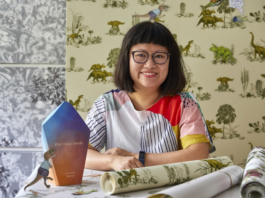 This Aug. 30, 2019 photo released by Veerle Evens shows Sian Zeng, winner of the grand prize for the Etsy Design Awards.  Zeng took the top prize in t...