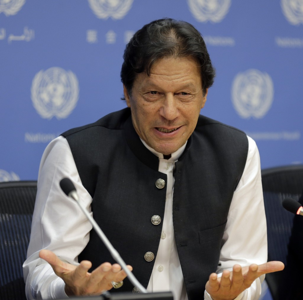 Imran Khan, Prime Minister of Pakistan, speaks to reporters during a news conference at United Nations headquarters Tuesday, Sept. 24, 2019. (AP Photo...