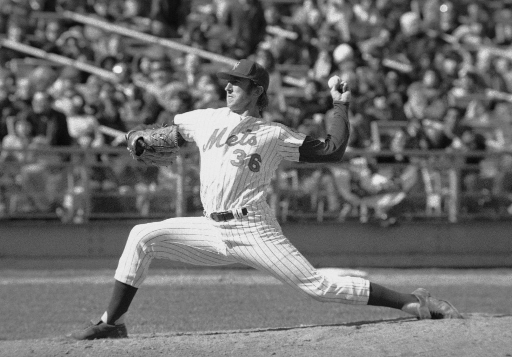 FILE - In this April 10, 1974, photo, New York Mets' Jerry Koosman pitches to a St. Louis Cardinals batter during the fifth inning of a baseball game ...
