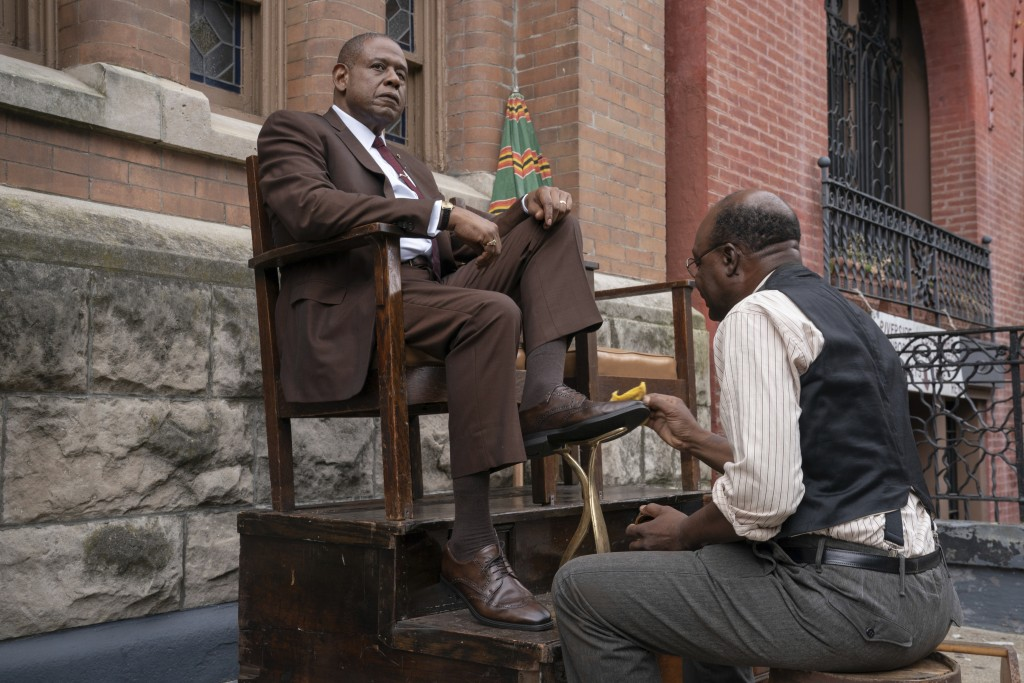 """This image released by Epix shows Forest Whitaker as Bumpy Johnson, left, in a scene from """"Godfather of Harlem,"""" premiering Sept. 29. (David Lee/Epix ..."""