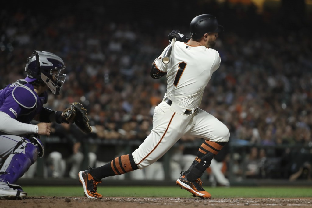 San Francisco Giants' Kevin Pillar watches his RBI single off Colorado Rockies' Tim Melville during the third inning of a baseball game Wednesday, Sep...