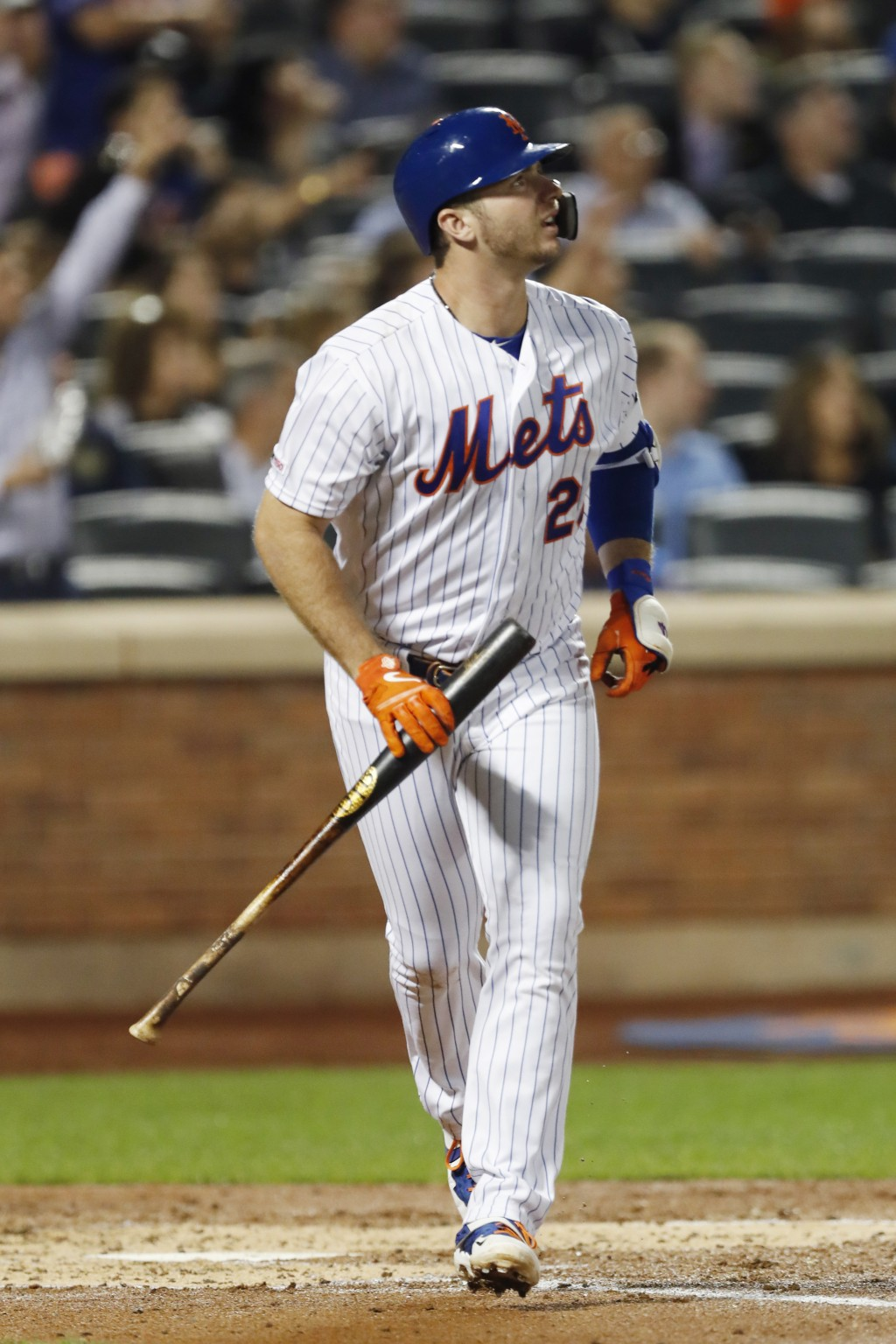 New York Mets' Pete Alonso watches his three-run home run in the second inning of the team's baseball game against the Miami Marlins, Wednesday, Sept....