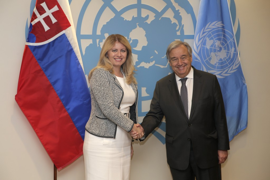 Zuzana Caputova, President of Slovakia, poses for a picture with United Nations Secretary-General Antonio Guterres at U.N. headquarters Wednesday, Sep