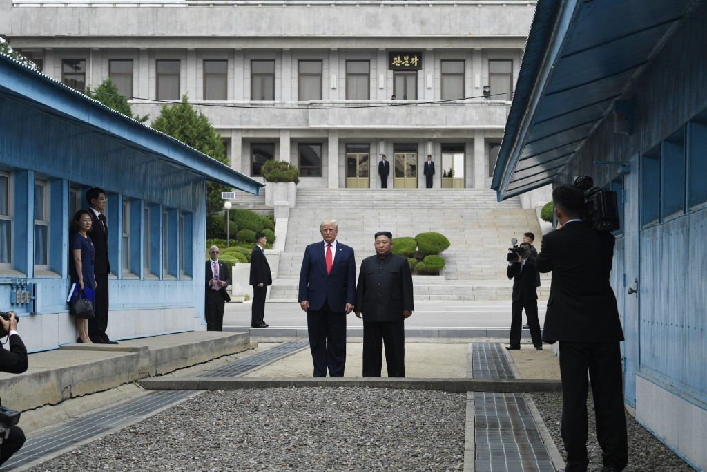 FILE - In this June 30, 2019, file photo, President Donald Trump meets with North Korean leader Kim Jong Un at the border village of Panmunjom in the ...