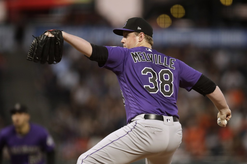Colorado Rockies pitcher Tim Melville works against the San Francisco Giants during the first inning of a baseball game Wednesday, Sept. 25, 2019, in ...